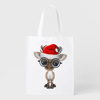 Nerdy Baby Reindeer Wearing a Santa Hat Reusable Grocery Bag
