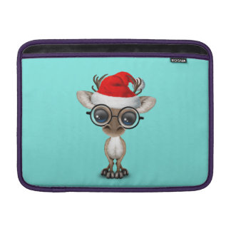 Nerdy Baby Reindeer Wearing a Santa Hat Sleeve For MacBook Air