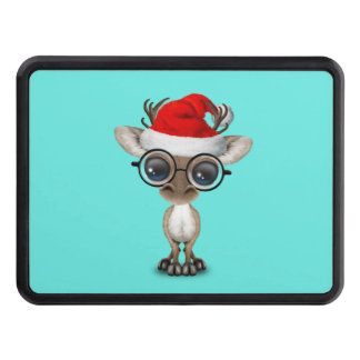 Nerdy Baby Reindeer Wearing a Santa Hat Trailer Hitch Cover