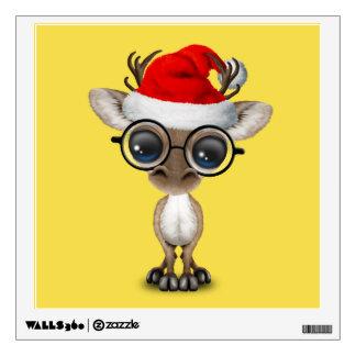 Nerdy Baby Reindeer Wearing a Santa Hat Wall Decal