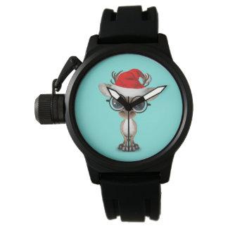 Nerdy Baby Reindeer Wearing a Santa Hat Watch
