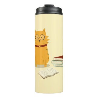 Nerdy Cat Book Lover Thermal Tumbler