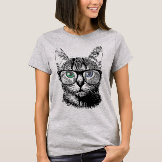 Nerdy Cat Hipster Kitten in Glasses T-Shirt