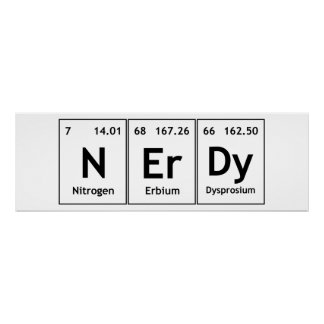 NErDy Chemistry Periodic Table Words Elements Nerd Poster