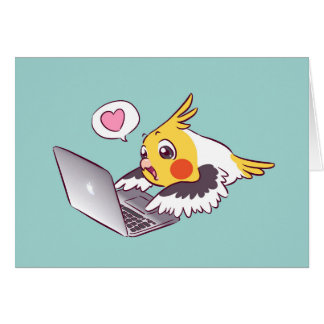 Nerdy cockatiel cute drawing Macbook bird parrot Card