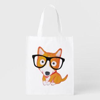 nerdy corgi reusable grocery bag