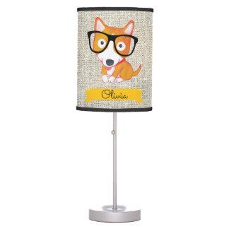 nerdy corgy custom name table lamp