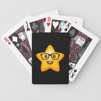 Nerdy Emoji Star Bicycle Playing Cards