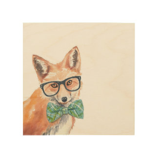 Nerdy Fox Wooden Wall Art Wood Prints