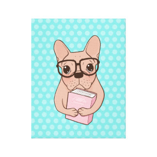 Nerdy French Bulldog Canvas Print