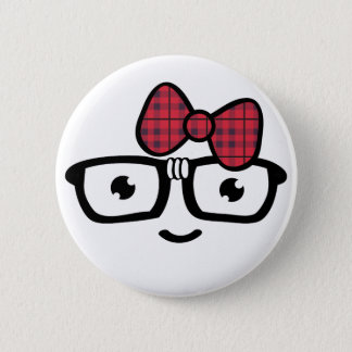 Nerdy Girl in Glasses Button