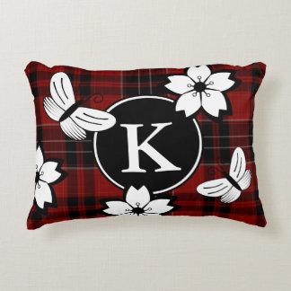 Nerdy & Girly Plaid w/Monogram Accent Pillow