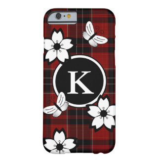 Nerdy & Girly Plaid w/Monogram Barely There iPhone 6 Case