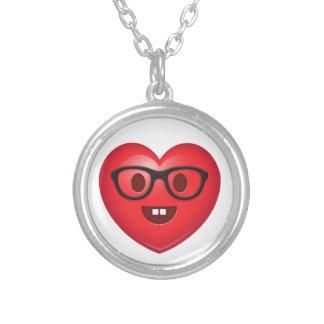 Nerdy Heart Emoji Silver Plated Necklace