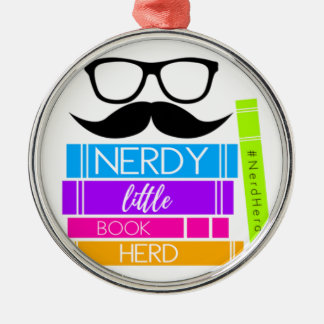 Nerdy Little Book Herd Metal Ornament