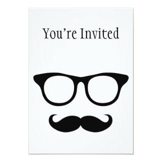 "Nerdy Mustache Man 5"" X 7"" Invitation Card"