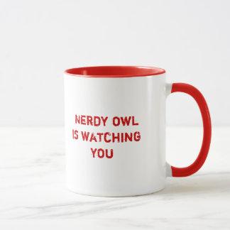 Nerdy owl is watching you mug