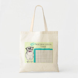 Nerdy Owl multiplication table Tote Bag