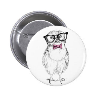 Nerdy Owlet small and smart   ink drawing 2 Inch Round Button