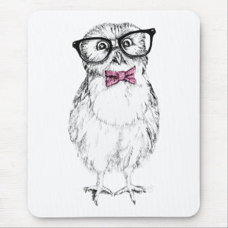 Nerdy Owlet small and smart   ink drawing Mouse Pad