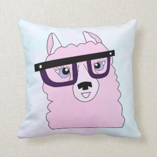 Nerdy Pink Llama Pillow