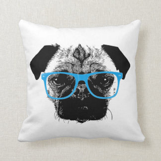 Nerdy Pug in Blue Glasses Hipster Throw Pillow