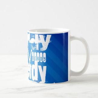 Nerdy; Royal Blue Stripes Mugs