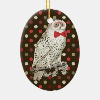 Nerdy Vintage Snowy Owl Christmas Ornament