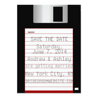 "Nerdy Wedding Save The Date Floppy Disk 4.5"" X 6.25"" Invitation Card"