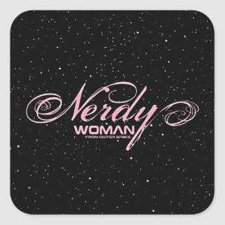 Nerdy Woman FOS Square Sticker