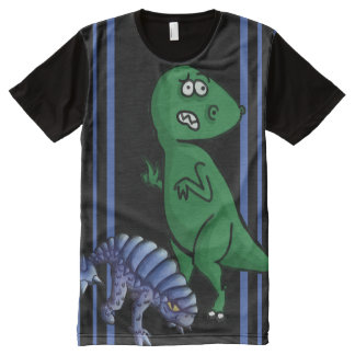 Nervous T-Rex and happy dino. All-Over-Print T-Shirt