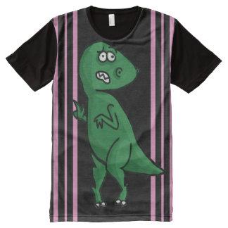 Nervous T-Rex, behind pink vertical stripes. All-Over-Print T-Shirt