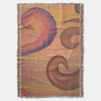 Nervy Gold Purple Orange Brown Swirls Throw