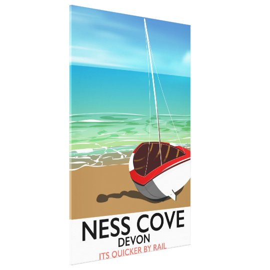 Ness Cover Devon vintage rail travel poster Canvas Print