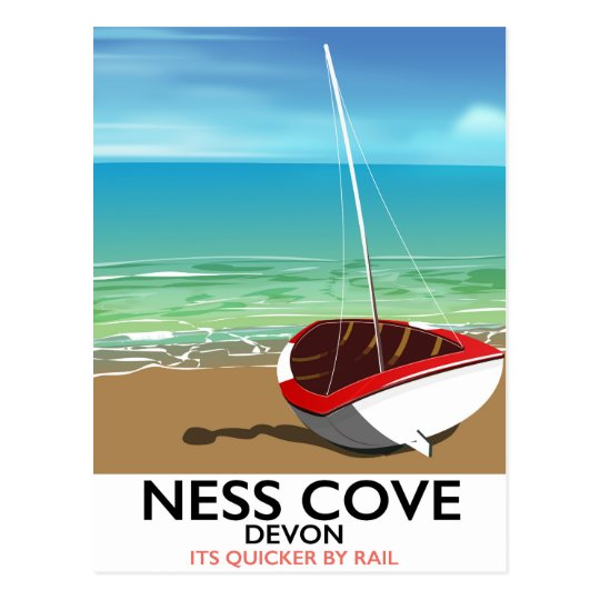 Ness Cover Devon vintage rail travel poster Postcard