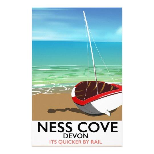 Ness Cover Devon vintage rail travel poster Stationery Design