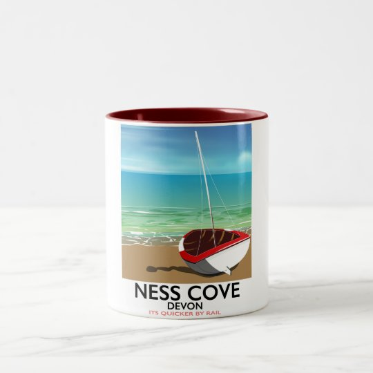 Ness Cover Devon vintage rail travel poster Two-Tone Coffee Mug