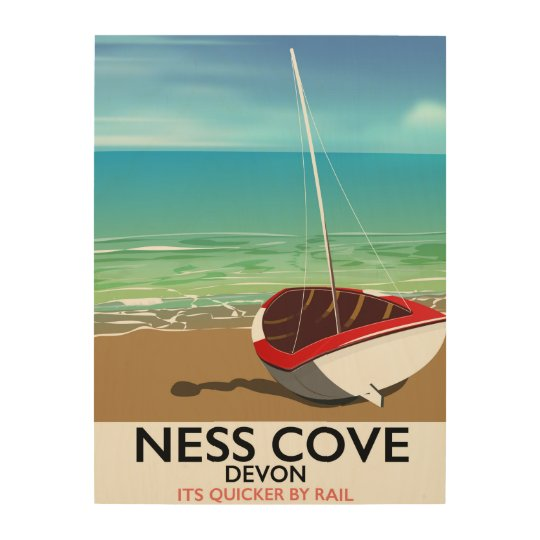 Ness Cover Devon vintage rail travel poster Wood Canvases