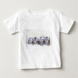 Nest with four young tabby cats in a row baby T-Shirt