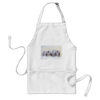 Nest with four young tabby cats in a row standard apron