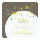 "Nesting Birds Family Tree Couples Baby Shower 5.25"" Square Invitation Card"