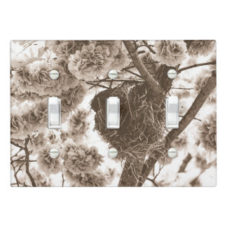Nesting Nature Trees Flowers Triple Light Switch Cover