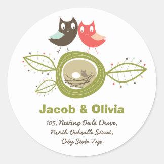 Nesting Owls Family Baby Shower Address Sticker