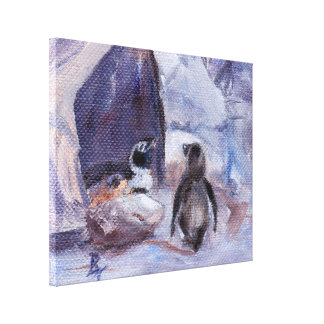 Nesting Penguins Wrapped Canvas Stretched Canvas Print