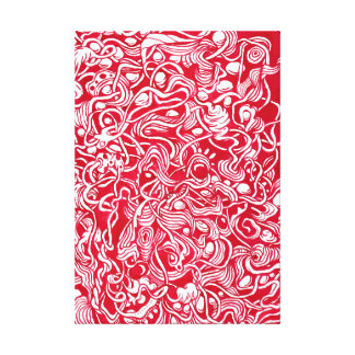Nestled Pebbles Red Ink Doodle Canvas Print