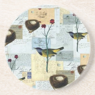 Nests and small birds beverage coaster