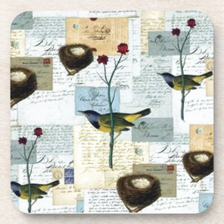 Nests and small birds beverage coasters