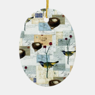 Nests and small birds ceramic ornament