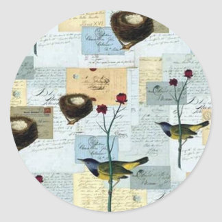 Nests and small birds classic round sticker