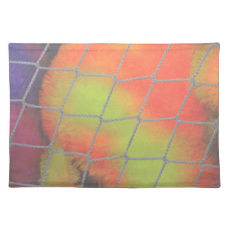 Net background with orange and yellow furry image place mat